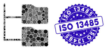 Mosaic category folder tree icon and rubber stamp seal with ISO 13485 phrase. Mosaic vector is formed with category folder tree icon and with scattered spheric elements. Ilustração