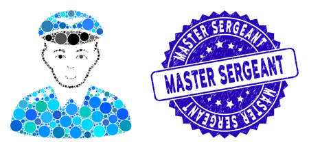 Mosaic military pilot officer icon and rubber stamp seal with Master Sergeant phrase. Mosaic vector is created with military pilot officer icon and with randomized circle spots.