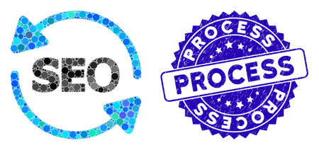 Mosaic seo process icon and rubber stamp seal with Process phrase. Mosaic vector is formed with seo process pictogram and with randomized spheric elements. Process seal uses blue color,