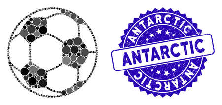 Collage football ball icon and rubber stamp seal with Antarctic caption. Mosaic vector is created with football ball icon and with randomized spheric spots. Antarctic seal uses blue color,