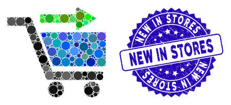 Mosaic check out cart icon and distressed stamp watermark with New in Stores text. Mosaic vector is formed with check out cart icon and with random round elements. Ilustrace