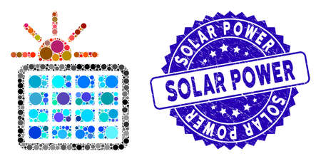 Mosaic solar power icon and rubber stamp seal with Solar Power caption. Mosaic vector is designed with solar power pictogram and with scattered circle items. Solar Power stamp seal uses blue color,