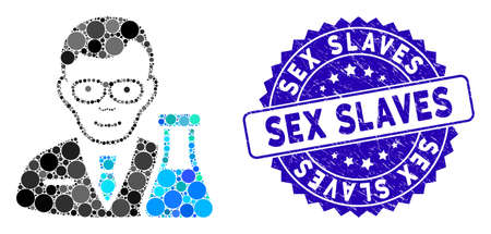 Collage chemist icon and grunge stamp watermark with Sex Slaves caption. Mosaic vector is composed with chemist icon and with random round items. Sex Slaves stamp seal uses blue color, Illustration