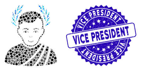 Mosaic caesar wreath icon and rubber stamp watermark with Vice President phrase. Mosaic vector is formed with caesar wreath icon and with randomized spheric spots.