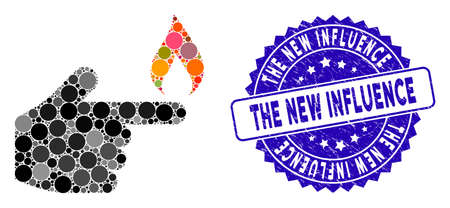 Mosaic index finger fire icon and grunge stamp seal with The New Influence text. Mosaic vector is created with index finger fire icon and with scattered circle elements.