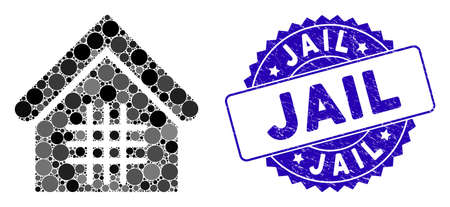 Mosaic jail icon and grunge stamp seal with Jail text. Mosaic vector is formed with jail icon and with scattered spheric spots. Jail seal uses blue color, and dirty texture.