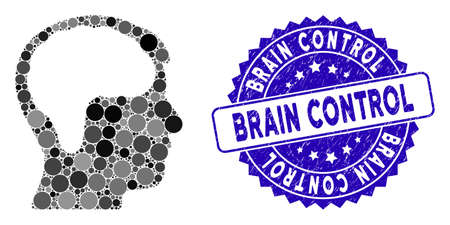 Mosaic brain icon and rubber stamp watermark with Brain Control phrase. Mosaic vector is designed with brain icon and with scattered round elements. Brain Control stamp seal uses blue color,