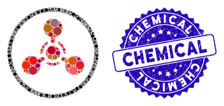 Mosaic WMD nerve agent chemical warfare icon and rubber stamp seal with Chemical caption. Mosaic vector is designed with WMD nerve agent chemical warfare icon and with scattered circle elements.