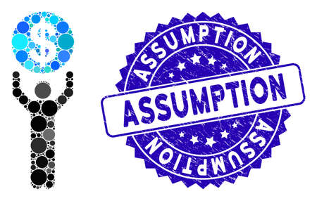 Mosaic banker icon and distressed stamp seal with Assumption caption. Mosaic vector is designed with banker pictogram and with scattered round elements. Assumption stamp seal uses blue color,