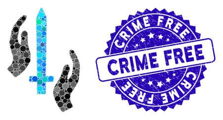 Icône de garde classique en mosaïque et sceau de tampon en caoutchouc avec phrase sans crime. Le vecteur mosaïque est formé avec une icône de garde classique et avec des éléments de cercle aléatoires. Le sceau de timbre sans crime utilise la couleur bleue,
