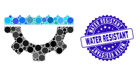 Mosaic water service gear icon and corroded stamp seal with Water Resistant caption. Mosaic vector is designed with water service gear icon and with randomized round elements. Illustration