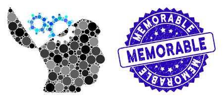 Mosaic open mind gears icon and corroded stamp seal with Memorable phrase. Mosaic vector is formed with open mind gears icon and with scattered round elements. Memorable stamp seal uses blue color,