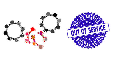 Collage gears damage icon and grunge stamp seal with Out of Service caption. Mosaic vector is formed with gears damage icon and with scattered circle items. Out of Service stamp seal uses blue color,