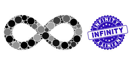 Collage infinity icon and corroded stamp seal with Infinity text. Mosaic vector is designed with infinity icon and with randomized spheric elements. Infinity stamp seal uses blue color,