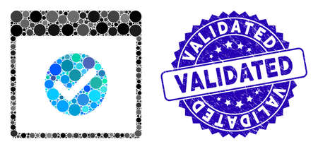 Mosaic OK calendar day icon and rubber stamp watermark with Validated text. Mosaic vector is formed with OK calendar day icon and with scattered circle spots. Validated stamp uses blue color, Vecteurs