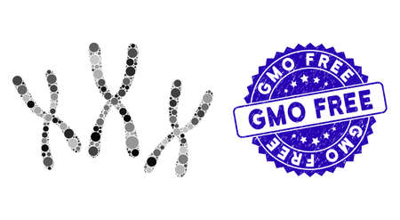 Mosaic chromosomes icon and grunge stamp seal with GMO Free phrase. Mosaic vector is designed with chromosomes icon and with scattered round items. GMO Free seal uses blue color, and scratched design.