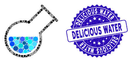 Mosaic inclined retort icon and distressed stamp seal with Delicious Water text. Mosaic vector is created with inclined retort icon and with random round spots. Delicious Water stamp uses blue color,