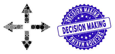 Mosaic expand arrows icon and rubber stamp seal with Decision Making caption. Mosaic vector is created with expand arrows icon and with scattered round spots.