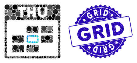 Mosaic Thursday grid icon and grunge stamp seal with Grid phrase. Mosaic is formed with Thursday calendar grid icon and with random round items. Grid stamp uses blue color, 向量圖像