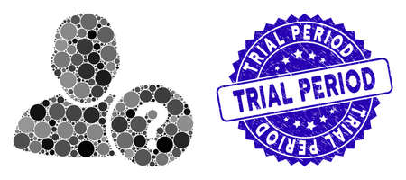 Mosaic user question icon and rubber stamp seal with Trial Period text. Mosaic vector is formed from user question icon and with random round items. Trial Period stamp uses blue color,