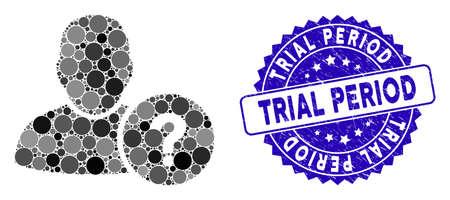 Mosaik-Benutzerfragesymbol und Stempelsiegel mit Testzeitraum-Text. Der Mosaikvektor wird aus dem Benutzerfragesymbol und mit zufälligen runden Elementen gebildet. Probezeitstempel verwendet blaue Farbe, Vektorgrafik