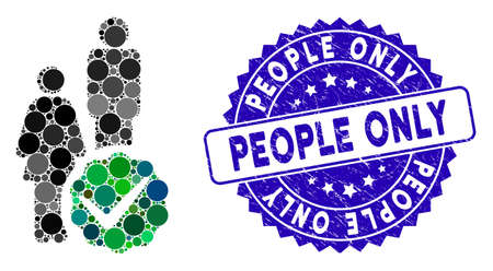 Mosaic for people only icon and grunge stamp seal with People Only phrase. Mosaic is formed with for people only icon and with scattered round spots.