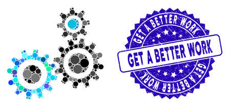 Mosaik-Getriebesymbol und Stempelsiegel mit der Überschrift Get a Better Work. Mosaik ist mit einem Zahnradsymbol und mit zufälligen Kreispunkten ausgestattet.