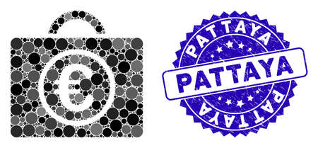 Collage Euro baggage icon and rubber stamp seal with Pattaya caption. Mosaic  is composed with Euro baggage pictograph and with random spherical spots. Pattaya stamp seal uses blue color, 일러스트