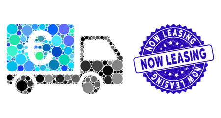 Collage Euro collector car icon and rubber stamp seal with Now Leasing caption. Mosaic vector is composed with Euro collector car icon and with randomized circle spots. 向量圖像