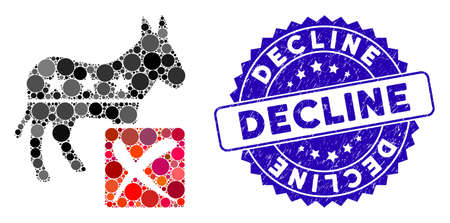 Collage decline democratic icon and corroded stamp seal with Decline text. Mosaic vector is composed with decline democratic icon and with random round elements. Decline stamp seal uses blue color,