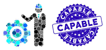 Mosaic engineer with gear icon and rubber stamp seal with Capable text. Mosaic vector is created with engineer with gear icon and with scattered spheric items. Capable stamp uses blue color,