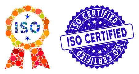 Mosaic ISO certified icon and corroded stamp seal with ISO Certified caption. Mosaic vector is designed with ISO certified icon and with scattered round spots. ISO Certified stamp uses blue color,
