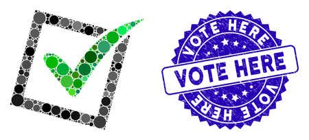 Mosaic yes poll icon and distressed stamp seal with Vote Here text. Mosaic vector is composed with yes poll icon and with scattered spheric elements. Vote Here stamp uses blue color, Illustration