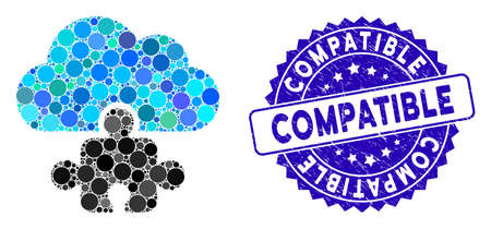 Mosaic cloud component icon and distressed stamp seal with Compatible text. Mosaic vector is created with cloud component pictogram and with scattered round spots. 일러스트