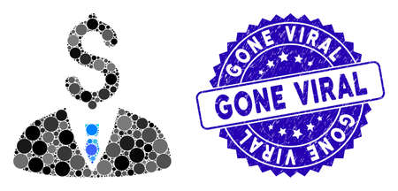 Mosaic businessman icon and rubber stamp watermark with Gone Viral phrase. Mosaic vector is composed with businessman icon and with random round spots. Gone Viral seal uses blue color,