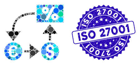 Mosaik-Währungs-Cashflow-Symbol und Distressed-Stempelsiegel mit ISO 27001-Text. Der Mosaikvektor wird mit dem Währungs-Cashflow-Symbol und mit randomisierten Kreispunkten gebildet. ISO 27001-Siegel verwendet blaue Farbe,