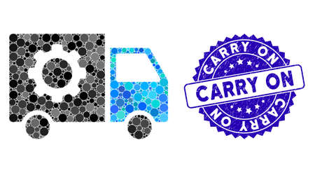 Mosaic gear tools delivery car icon and rubber stamp seal with Carry On phrase. Mosaic vector is designed from gear tools delivery car icon and with randomized round elements.