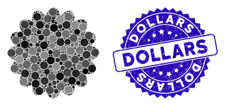 Mosaic award seal icon and rubber stamp watermark with Dollars caption. Mosaic vector is created from award seal icon and with randomized spheric elements. Dollars stamp seal uses blue color,  イラスト・ベクター素材