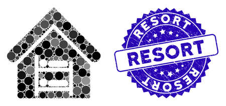 Mosaic hostel icon and rubber stamp watermark with Resort phrase. Mosaic vector is formed from hostel icon and with random round items. Resort stamp uses blue color, and rubber design.