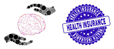 Mosaic brain care hands icon and grunge stamp seal with Health Insurance phrase. Mosaic vector is composed with brain care hands icon and with scattered spheric elements.  イラスト・ベクター素材