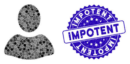 Mosaic client icon and grunge stamp seal with Impotent text. Mosaic vector is created with client icon and with randomized spheric elements. Impotent stamp seal uses blue color, and scratched design. Illustration