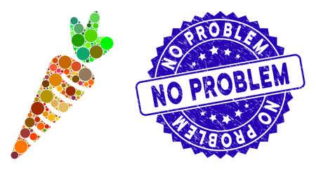 Mosaik-Karotten-Symbol und Grunge-Stempelsiegel mit No Problem-Beschriftung. Der Mosaikvektor wird aus dem Karottensymbol und mit zufälligen Kreisflecken erstellt. Kein Problem-Stempel verwendet blaue Farbe und Grunge-Design. Vektorgrafik