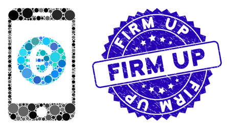 Mosaic Euro mobile balance icon and rubber stamp seal with Firm Up caption. Mosaic vector is composed from Euro mobile balance icon and with randomized circle spots. Firm Up seal uses blue color,