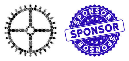 Mosaic clock gear icon and distressed stamp seal with Sponsor caption. Mosaic vector is composed with clock gear icon and with random round items. Sponsor stamp uses blue color, and dirty surface. Ilustração
