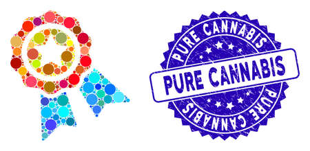 Mosaic award badge icon and grunge stamp seal with Pure Cannabis text. Mosaic vector is created with award badge icon and with randomized spheric items. Pure Cannabis seal uses blue color,