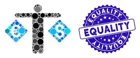 Mosaic currency trader icon and rubber stamp seal with Equality text. Mosaic vector is composed from currency trader icon and with random spheric elements. Equality stamp seal uses blue color, Çizim