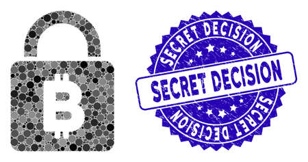 Mosaic Bitcoin lock icon and grunge stamp seal with Secret Decision caption. Mosaic vector is composed with Bitcoin lock icon and with random round elements. Secret Decision seal uses blue color, Vektorové ilustrace