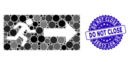 Mosaic emergency exit icon and corroded stamp watermark with Do Not Close caption. Mosaic vector is composed with emergency exit icon and with randomized circle spots. 向量圖像
