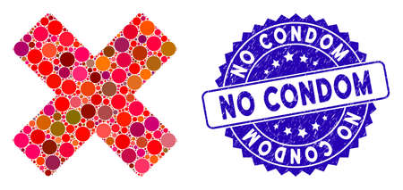 Mosaic delete x-cross icon and rubber stamp seal with No Condom caption. Mosaic vector is composed with delete x-cross icon and with randomized circle elements. No Condom stamp seal uses blue color, Illusztráció