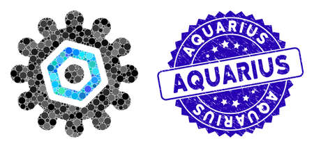 Mosaic gear icon and rubber stamp seal with Aquarius phrase. Mosaic vector is composed with gear pictogram and with scattered circle items. Aquarius stamp seal uses blue color, and rubber design.